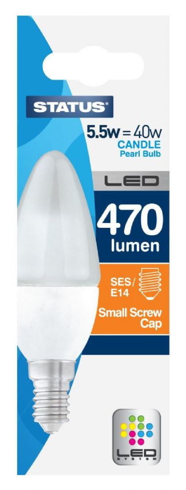 LED Candle Lamp 5.5watt = 40watt SES E14 Candle Lamp A+ Rated Pack of 4